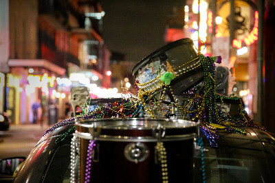 Snare drums with beads in New Orleans