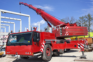 red construction crane