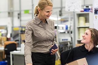 working women smiling