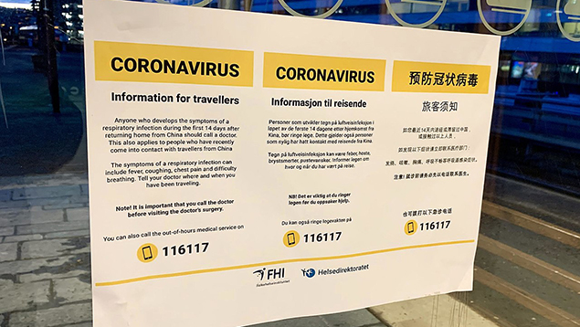 Public notice in Oslo about coronavirus in 2020