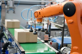 Robotic arm operating in a factory