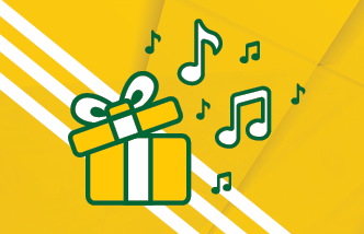 Gift box with musical notes coming out if it on a yellow background