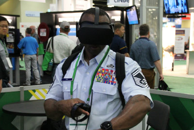 Man with VR headset at conference