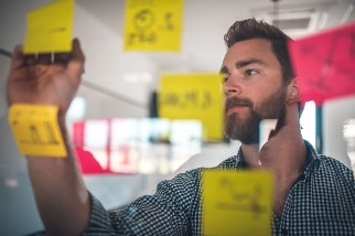 Businessman looking at post it notes