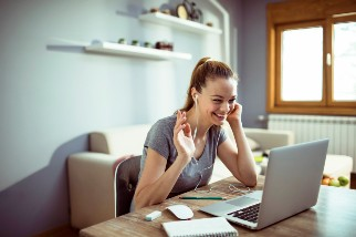 Young woman working remotely