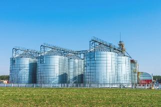 Silver grain bin silos