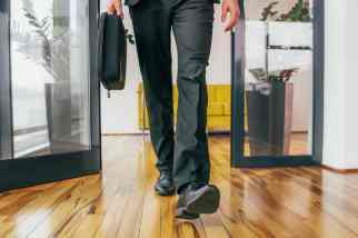 Person walking in an office