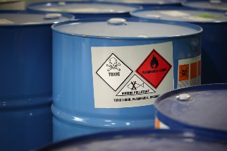 Drums with hazardous chemicals