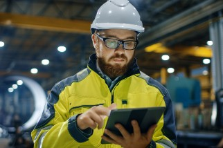 Engineer working on a tablet