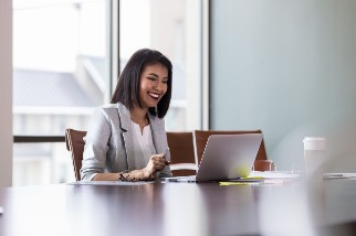 Businesswoman on a laptop